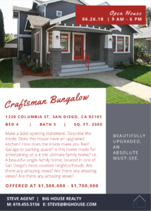 Craftsman Style Open House Flyer