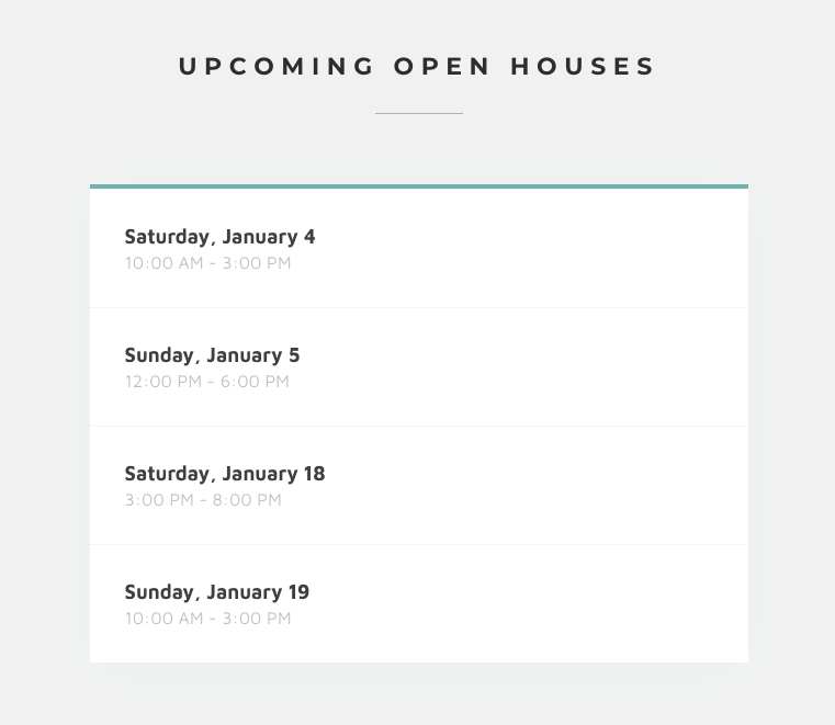 Upcoming Open Houses. Single Property Sites. The Property Listing